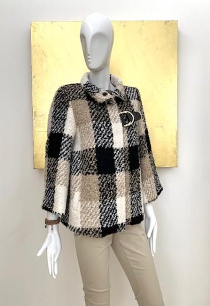 Kurzer Mantel in Karo-Muster mit Schnalle (Brauntöne)