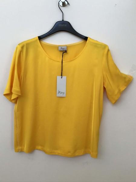 Locker geschnittene gelbe Bluse von Minx mit seitlicher Lochleiste Größe 38