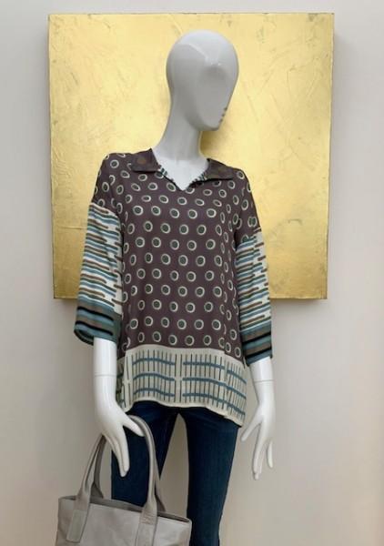 Bluse mit Dot-Muster (grau-grun)