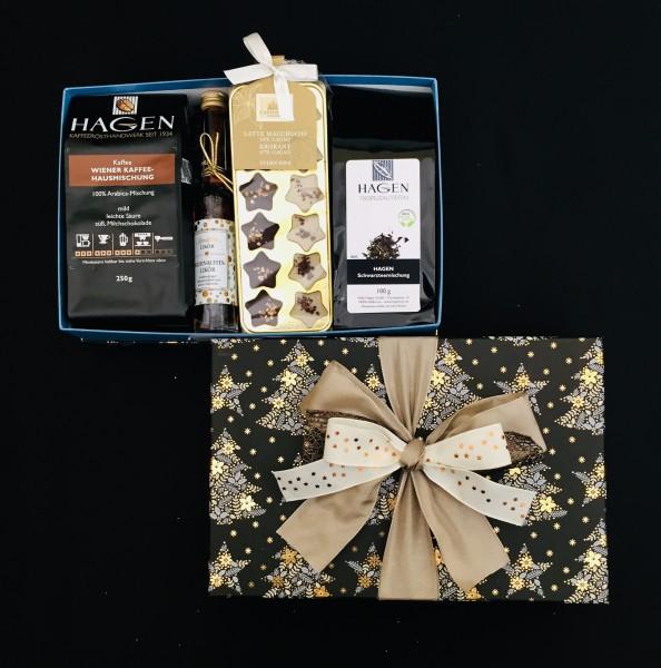 Kaffee-Teepaket Zweige schwarz-hellblau L+ mit Schleife