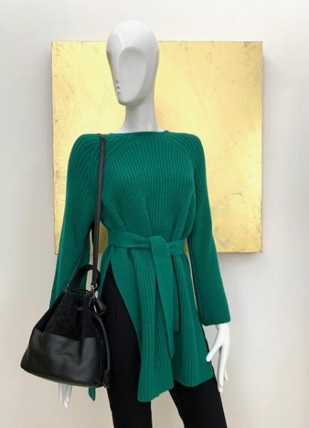 Strickpullover mit Gürtel (grün)