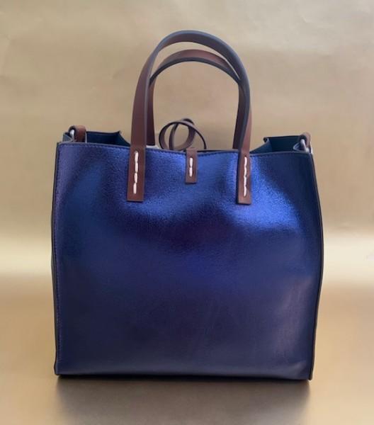 Kleine Wendetasche (metallic nachtblau)