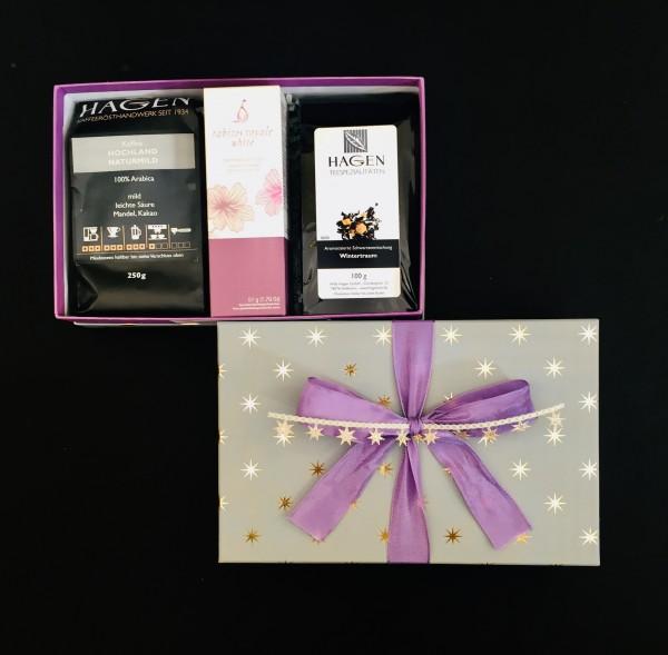 Kaffee-Teepaket Sterne gold-grau lila M mit Schleife