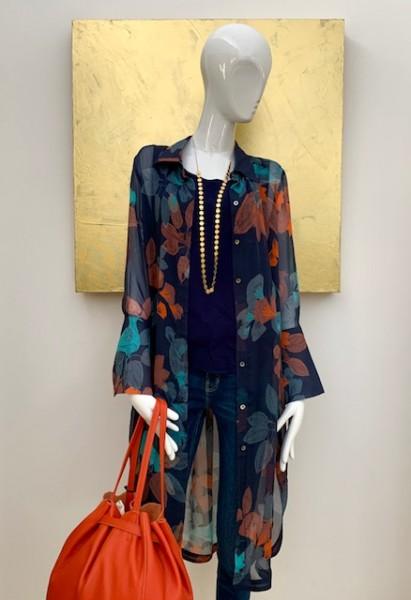 2-teilige Bluse (blau-orange)