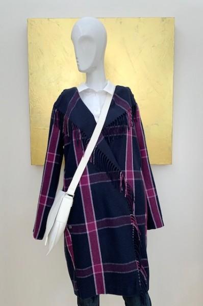 Mantel in Karo-Muster mit Fransen