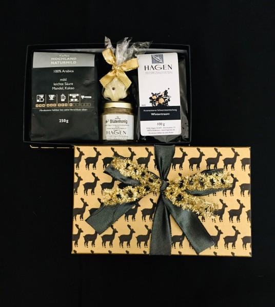 Kaffee-Teepaket Hirsch grau-gold S mit Schleife