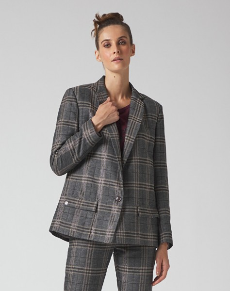 Blazer in Karo-Muster (grau/braun)