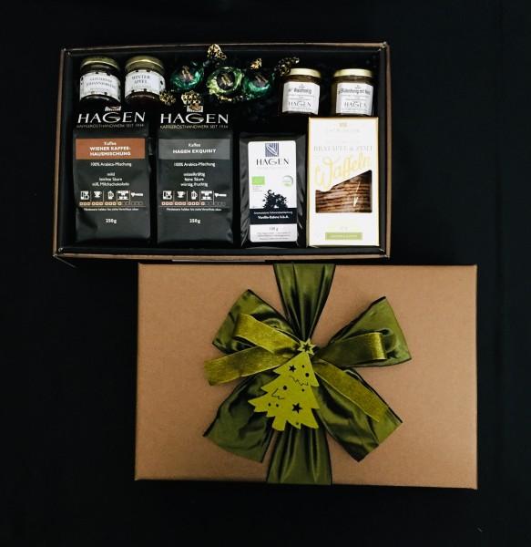 Kaffee-Teepaket braun-schwarz XL mit Schleife