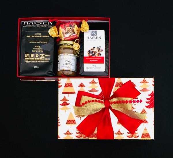 Kaffee-Teepaket Tannenbäume rot-gold metallic M mit Schleife