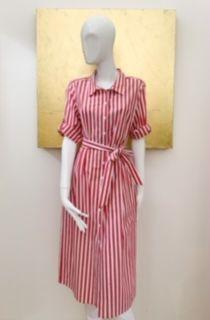 Rot-weiß gestreiftes Hemdblusenkleid von RoFa mit Gürtel und Grifftaschen