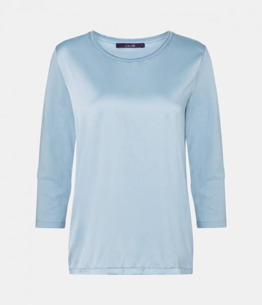 Shirt in Seidensatin (eisblau)