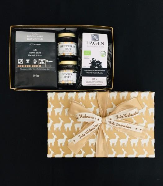Kaffee-Teepaket Hirsch weiß-gold S mit Schleife