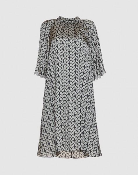 Kleid in Dots-Muster (schwarz/grün)