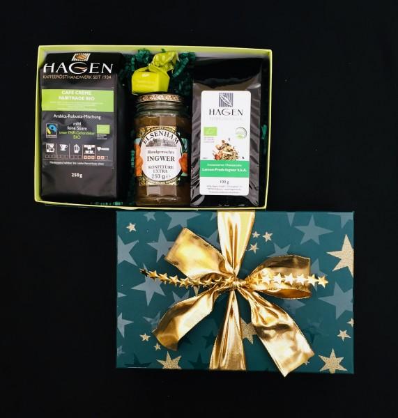 Kaffee-Teepaket Sterne hellgrün-dunkelgrün L mit Schleife